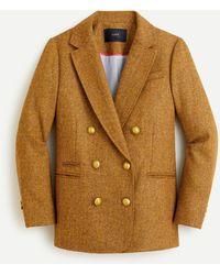 J.Crew Double-breasted Blazer In Gold Herringbone English Wool - Brown