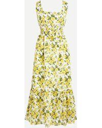 Liberty Smocked-waist Dress In ® Carline Rose Print - Yellow
