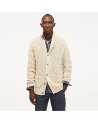 caa403621 Rugged Cotton Cable-knit Shawl-collar Cardigan Jumper - Natural