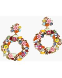 J.Crew Colorful Floral Hoop Earrings - Multicolor
