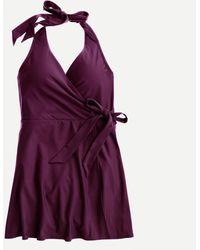 J.Crew Halter Wrap Swim Dress - Purple