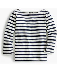 J.Crew Structured Boatneck T-shirt In Stripe - Blue