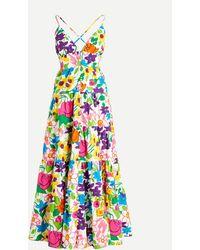 J.Crew Cotton-poplin Button-up Dress In Vibrant Garden - Multicolor