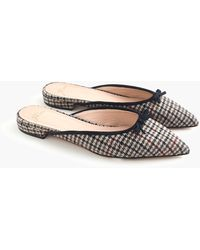 J.Crew Gwen Slides With Bow In Plaid - Blue