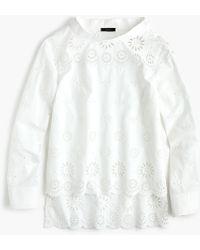 J.Crew - Petite Funnelneck Shirt In Eyelet - Lyst