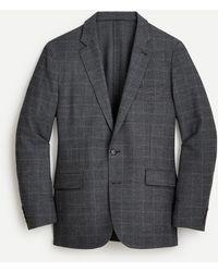 J.Crew Ludlow Slim-fit Unstructured Suit Jacket In Italian Stretch Plaid Seersucker - Gray