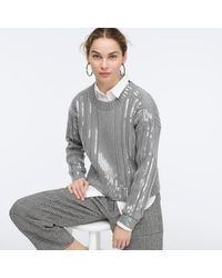 J.Crew Collection Sequin-striped Ribbed Crewneck Sweater - Gray
