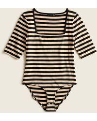 J.Crew Squareneck Stretch Bodysuit In Stripe - Black
