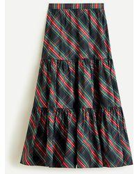 J.Crew Tiered Maxi Skirt In Black Stewart Tartan Taffeta - Multicolour