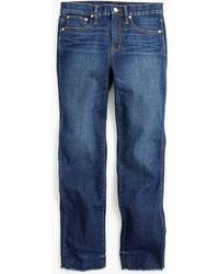 J.Crew - Tall Vintage Straight Jean In Faded Midnight With Raw Hems - Lyst