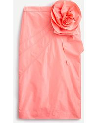 J.Crew Taffeta Pencil Skirt With Rosette - Pink