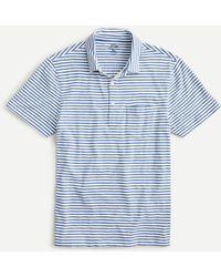 J.Crew Slub Jersey Polo Shirt In Yarn-dyed Stripe - Blue