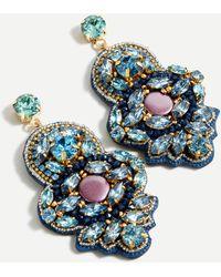 J.Crew Fabric-back Mixed-gem Statement Earrings - Blue