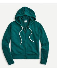 J.Crew Cropped Hoodie In Vintage Cotton Terry - Green