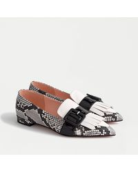 J.Crew Kiltie Monk-strap Flats In Snake-embossed Leather - Black