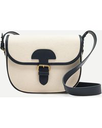 J.Crew Classic Large Saddle Bag In Canvas - Blue