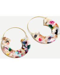 J.Crew Tortoise Hanging Hoop Earrings - Multicolour