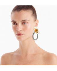 J.Crew - Flower And Crystal Door Knocker Earrings - Lyst