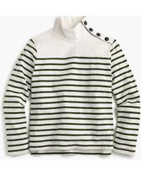 J.Crew - Striped Button-shoulder Turtleneck - Lyst
