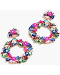 J.Crew - Floral Clip-on Hoop Earrings - Lyst
