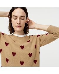 J.Crew Everyday Cashmere Crewneck Sweater With Intarsia-knit Hearts - Natural