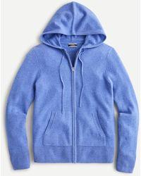 J.Crew Everyday Cashmere Zip-front Hoodie - Blue