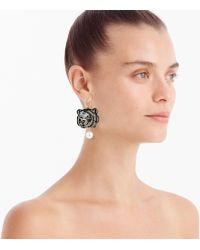 J.Crew - Leather-backed Beaded Tiger Earrings - Lyst