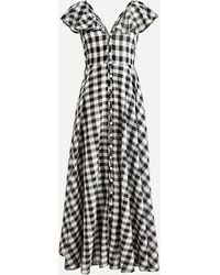 J.Crew Button-up Ruffle Dress In Gingham - White