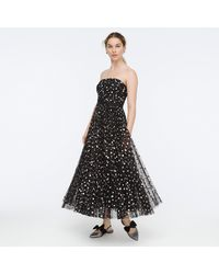 J.Crew Strapless Tulle Midi Dress In Glitter Dot - Black
