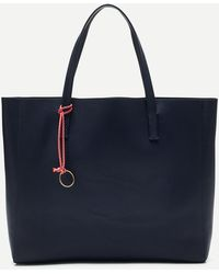 J.Crew Large Carryall Tote In Pebbled Leather - Blue