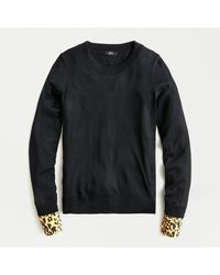 J.Crew Tippi Jumper With Leopard-print Cuffs In Re-imagined Wool - Black