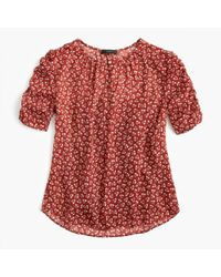 J.Crew - Ruched-sleeve Top In Sparkle Floral - Lyst