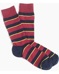 J.Crew - Marroon And Navy Striped Socks - Lyst