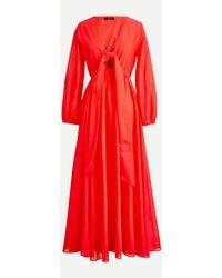 J.Crew Tie-front Cotton-voile Maxi Dress - Red