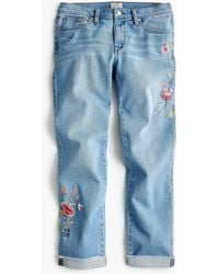 J.Crew Tall Slim Boyfriend Jean With Floral Embroidery - Blue