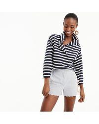 J.Crew - Striped Snap-neck Sweatshirt - Lyst
