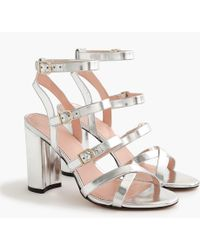J.Crew - Buckled High-heel Sandals In Mirror Metallic - Lyst