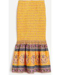 J.Crew Smocked Skirt In Sunny Block Print - Multicolour