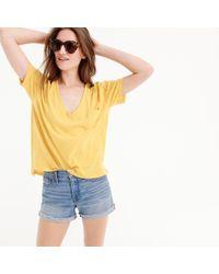 J.Crew - Slub Cotton V-neck T-shirt - Lyst