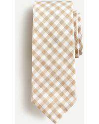 J.Crew Mini Gingham Silk Tie - Natural