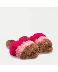 Ariana Bohling Striped Slippers In Baby Alpaca - Pink