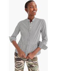 J.Crew - Stripe Stretch Button-up Shirt With Peplum - Lyst