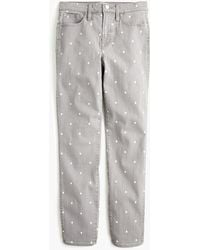 J.Crew Petite Vintage Straight Jean In Grey Scattered Dot - Gray