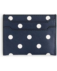 J.Crew Leather Card Case In Polka Dot - Blue