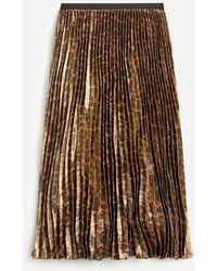 J.Crew Pleated Midi Skirt In Metallic Leopard - Brown