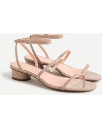 J.Crew Skinny Strap Round-heel Sandals In Patent Leather - Pink