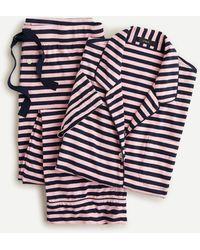 J.Crew Dreamy Short-sleeve Cropped Pajama Set In Stripe - Blue
