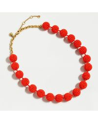 J.Crew Beaded Gumball Necklace - Red