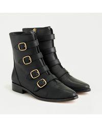 J.Crew Multi-buckle Leather Short Boots - Black