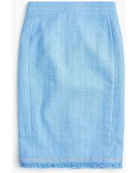 J.Crew - Tweed Pencil Skirt With Fringe - Lyst